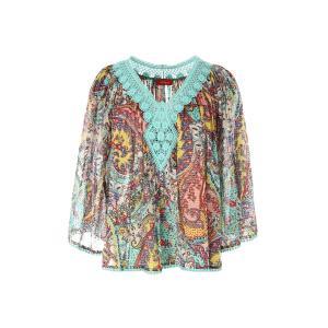 Блузка с кружевным вырезом RENE DERHY. Цвет: бирюзовый