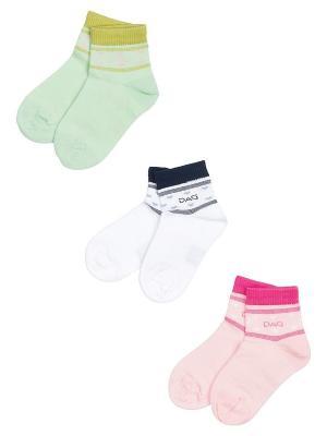 Носки Детские,комплект 3 пары DAG. Цвет: салатовый, белый, розовый