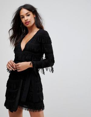Isla Платье с длинными рукавами и бахромой. Цвет: черный