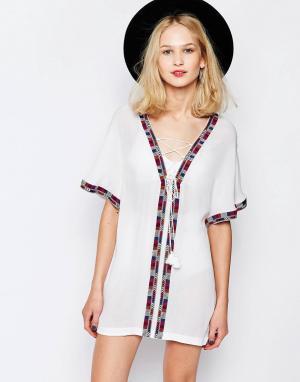 Piper Платье-туника с вышивкой Xico. Цвет: белый