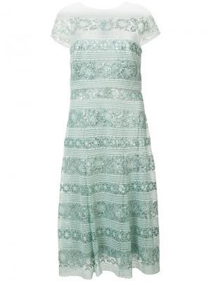 Кружевное платье с пайетками Tadashi Shoji. Цвет: синий