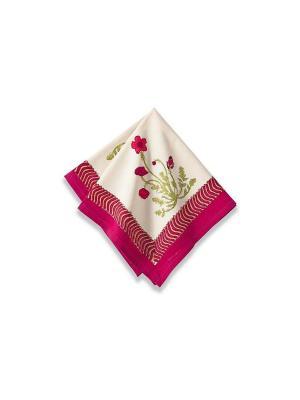 Салфетка Poppies red-green /Маки красный-зеленый/ 50*50см, 100% хлопок Mas d'Ousvan. Цвет: белый, красный