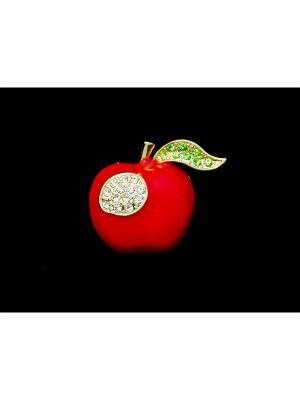 Брошь Miss Bijou. Цвет: красный,золотистый,салатовый
