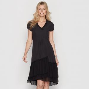 Платье из двух материалов ANNE WEYBURN. Цвет: черный