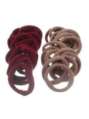 Резинки для волос бардовые и бежевые 4 см, средней жесткости, 30 шт Радужки. Цвет: бордовый,бежевый