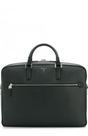 Кожаная сумка для ноутбука Serapian. Цвет: темно-зеленый