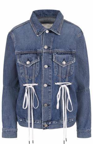 Джинсовая куртка со шнуровкой и потертостями Proenza Schouler. Цвет: синий