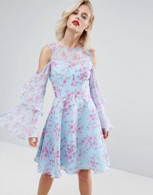 Horrockses Шифоновое платье миди с цветочным принтом. Цвет: мульти