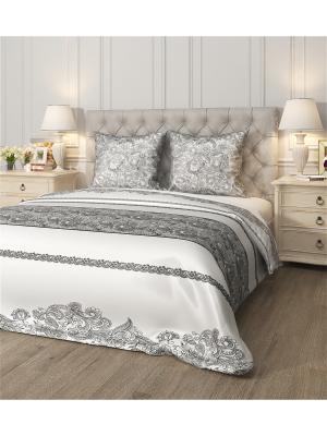 Комплект постельного белья Арабеска, семейный Сирень. Цвет: белый, черный, серый