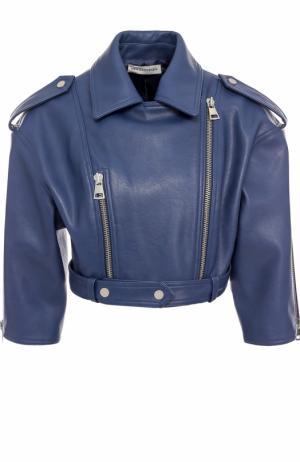 Кожаная куртка с укороченным рукавом и косой молнией Vika Gazinskaya. Цвет: синий