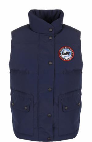 Пуховой стеганый жилет с логотипом бренда Arctic Explorer. Цвет: синий