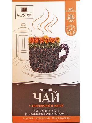 Черный чай с мятой и календулой.150 гр. Царство Ароматов. Цвет: белый