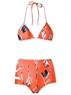 Printed triangle bikini set Giuliana Romanno. Цвет: жёлтый и оранжевый