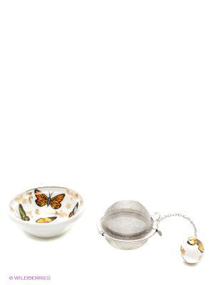 Набор для заваривания чая Бабочки Elan Gallery. Цвет: белый, коричневый, желтый