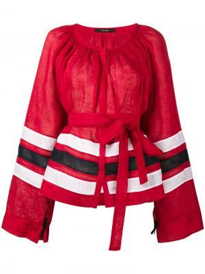 Полосатая туника с рукавами колоколом Vita Kin. Цвет: красный