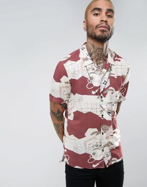 AllSaints Рубашка классического кроя с короткими рукавами и цветочным принтом Al. Цвет: красный