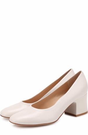 Кожаные туфли Rayla на устойчивом каблуке Gianvito Rossi. Цвет: белый
