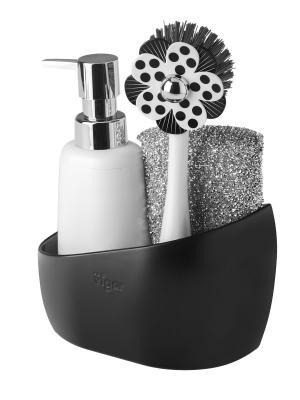 Набор: щетка для посуды, дозатор, губка на подставке VIGAR. Цвет: черный, белый