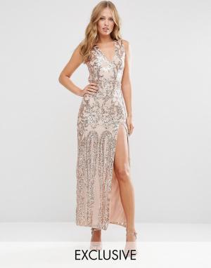 Club L Платье макси с открытой спиной и отделкой пайетками. Цвет: золотой