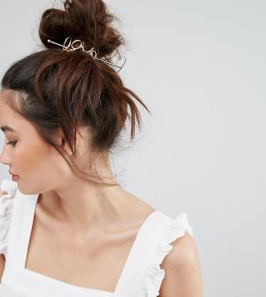 Orelia Золотистая металлическая заколка для волос со шпилькой и отделкой в ви. Цвет: золотой