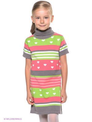 Платье PlayToday. Цвет: розовый, белый, серый, салатовый