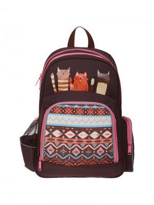 Рюкзак Light Cats 42*28*17см, 2 отделения, 3 кармана, эргономичная спинка Berlingo. Цвет: коричневый