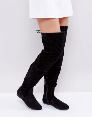 Daisy Street Черные сапоги выше колен со шнуровкой сзади. Цвет: черный