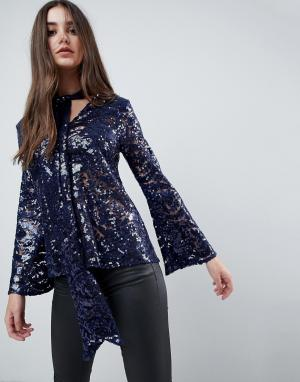 Closet London Блузка с завязкой у ворота, длинными рукавами и пайетками. Цвет: синий