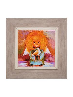 Картина Ангел хранитель мира Artangels. Цвет: оранжевый, красный, серый