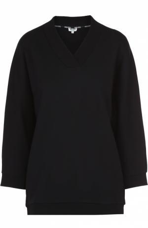 Пуловер с V-образным вырезом и контрастной надписью на спинке Kenzo. Цвет: черный