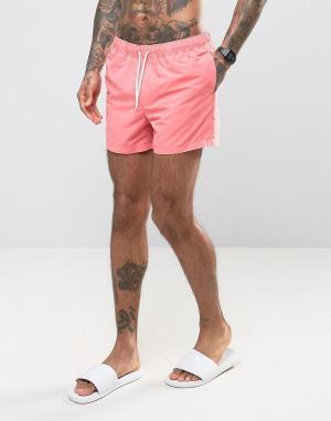 ASOS Короткие шорты для плавания кораллового цвета. Цвет: розовый