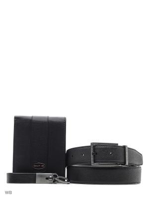 Подарочный набор: колько для ключей, кредитница, ремень CERRUTI 1881. Цвет: черный