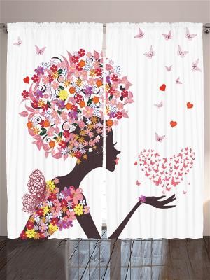 Комплект фотоштор Девушка в платье из бабочек, чёрно-белая графика, пальмы на песке, розовая маска, Magic Lady. Цвет: розовый, желтый, белый, серый, красный