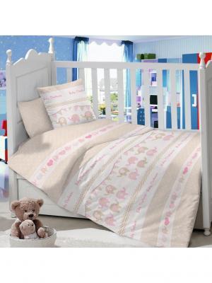 Комплект постельного белья в детскую кроватку из сатина (простыня на резинке) Ивбэби. Цвет: темно-бежевый, молочный, розовый