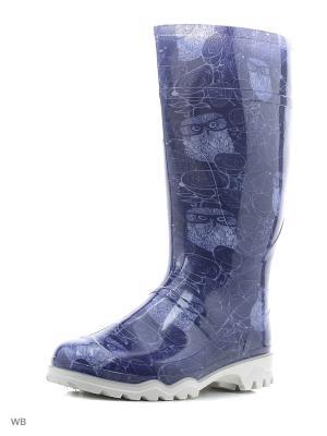 Резиновые сапоги Дюна. Цвет: темно-синий, белый, серо-голубой