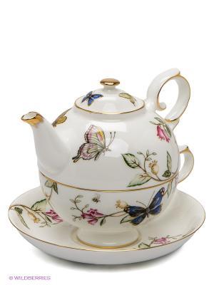 Чайный набор Райский уголок Pavone. Цвет: белый