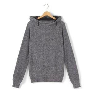 Пуловер из тонкого трикотажа с капюшоном La Redoute Collections. Цвет: серый меланж