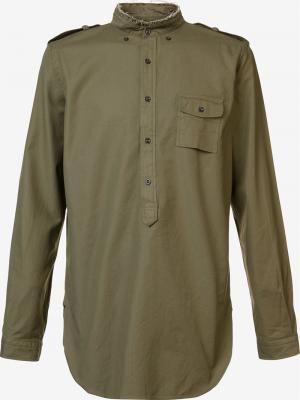 Band collar shirt Wooster + Lardini. Цвет: зелёный