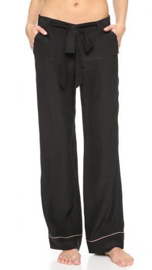 Шелковые пижамные брюки Kiki De Montparnasse. Цвет: черный/телесный