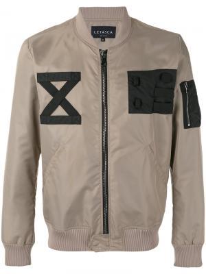 Куртка-бомбер  с заплатками Letasca. Цвет: телесный