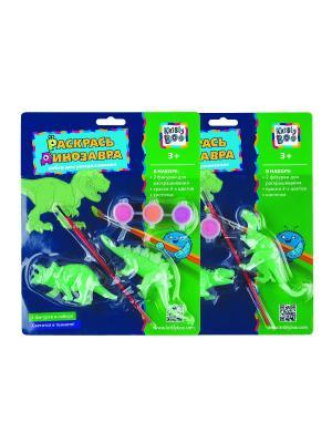 Набор Раскрась динозавра, светящийся в темноте Kribly Boo. Цвет: зеленый