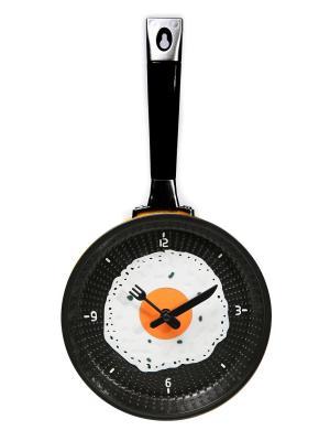 Часы настенные Сковорода с яичницей желтая (18,5 см) Mitya Veselkov. Цвет: желтый