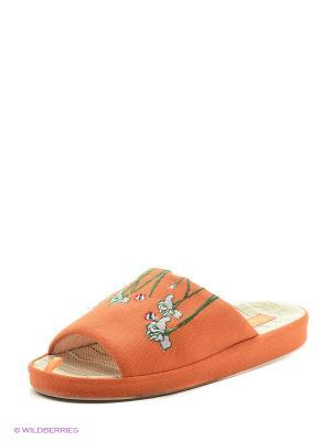 Тапочки женские Dream Feet. Цвет: оранжевый
