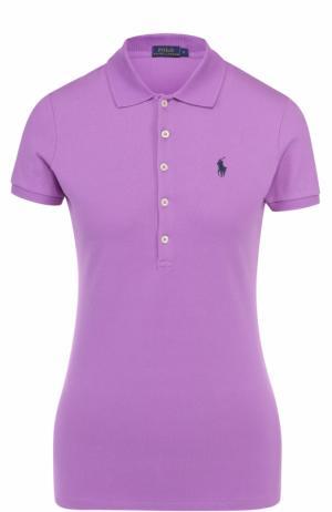 Поло с вышитым логотипом бренда Polo Ralph Lauren. Цвет: фиолетовый