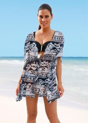 Пляжное кимоно (черный/белый) bonprix. Цвет: черный/белый
