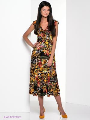 Платье Yulia Dushina. Цвет: черный, зеленый, светло-оранжевый