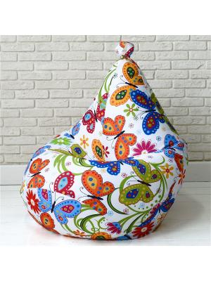 Кресло-мешок БАБОЧКИ MyPuff. Цвет: синий, молочный, оранжевый