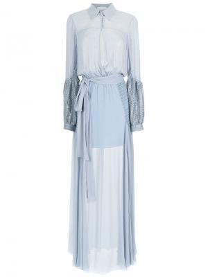 Maxi silk dress Giuliana Romanno. Цвет: синий