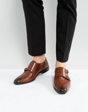 ASOS Светло-коричневые кожаные монки с отделкой в стиле брогов. Цвет: рыжий