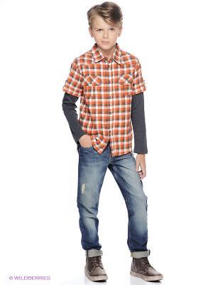 Рубашка oodji. Цвет: оранжевый